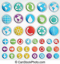 formas, símbolos, conjunto, vector, vario