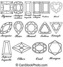 formas, su, piedra, vector, nombres