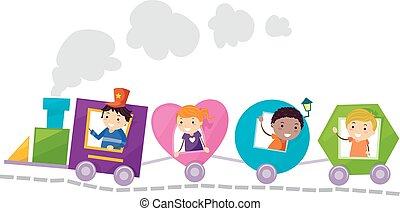 formas, trem, stickman, crianças