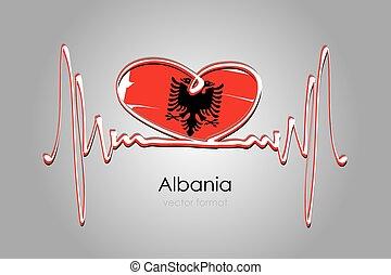 format, albania bandera, ręka, wektor, barwiony, serce