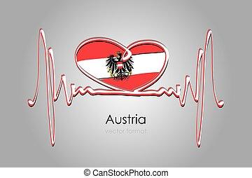 format, bandera, austria, ręka, wektor, barwiony, serce
