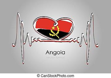 format, bandera, ręka, wektor, angola, barwiony, serce