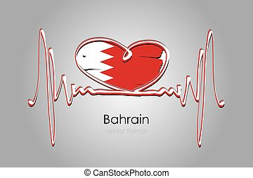 format, bandera, ręka, wektor, bahrajn, barwiony, serce