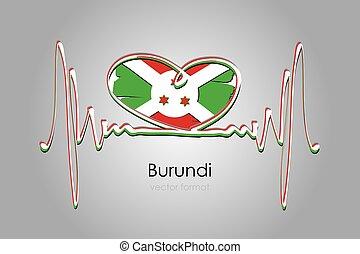 format, bandera, ręka, wektor, burundi, barwiony, serce