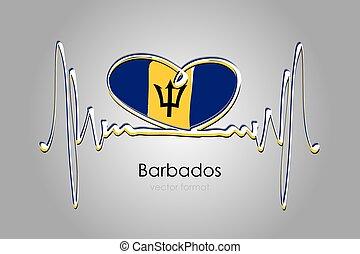 format, barbados bandera, ręka, wektor, barwiony, serce