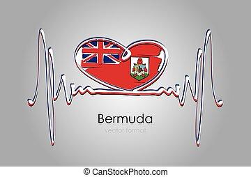 format, bermuda bandera, ręka, wektor, barwiony, serce