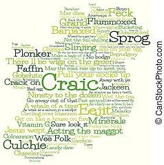 format., fatto, slang, vettore, irlandese, irlanda, mappa, parole