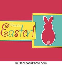 format., funky, vetorial, bunny easter, cartão