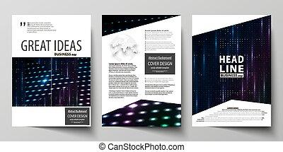 format., incandescent, aviateur, booklet., coloré, résumé, lumière, gabarit, modèle, vecteur, mené, design., a4, business, particules, disposition, magazine, pointillé, brochure, arrière-plan., gabarits, couverture, points, néon