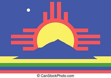 format, mexique, vecteur, nouveau, roswell, usa., drapeau