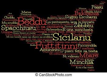 format., siciliano, slang, vettore, fatto, mappa, sicilia, parole