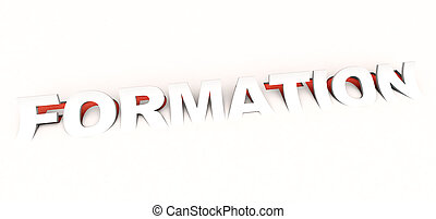 Formation - 3D rendering of the cut out word formation in...