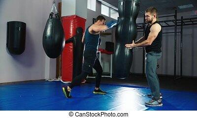 formation, aidé, battements, boxeur, pear., trains, associé, il