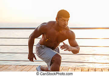formation, athlète, dehors, jeune, musculaire, homme africain