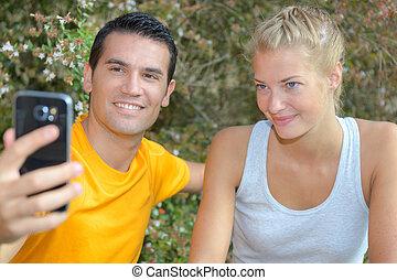 formation, athlétique, couple, après, gai, sain, confection, selfie