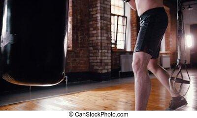 formation, athlétique, sac gymnase, boxeur, frapper, homme
