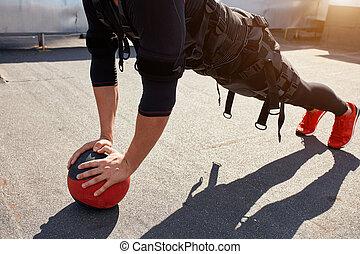 formation, balle, sportif, crise, photo, haut, tondu, fin, homme