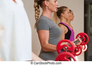 formation, barres disques, jeune, classe aptitude, femmes