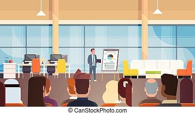 formation, business, donner, présentation, businesspeople, rapport, équipe, devant, réunion, ou, homme