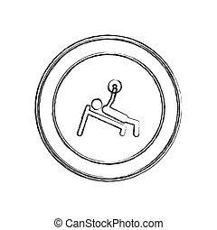 formation, cadre, croquis, haltérophilie, monochrome, homme, circulaire