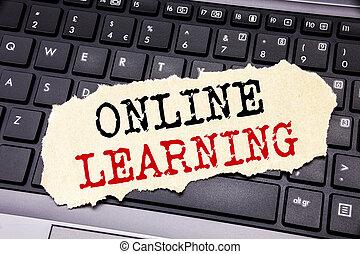 formation, concept, business, texte, projection, ligne, écriture, note, arrière-plan., écrit, papier, noir, clavier, e-apprendre, collant, learning.