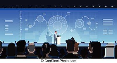 formation, concept, groupe, présentation, mener, projection, diagrammes, rapports, businesspeople, devant, homme affaires, réunion