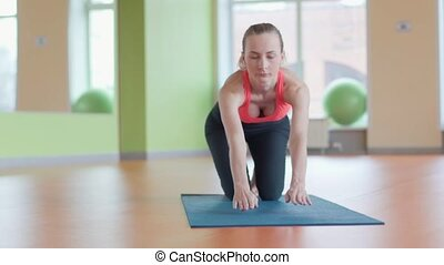 formation, concept, pose yoga, pratique, femme