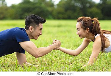 formation, couple, fitness, jeune, ensemble, dehors