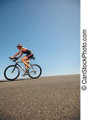 formation, cyclisme, athlète, triathlon, femme, événement