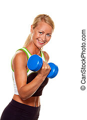 formation, dumbbells, femme, force, fitness, pendant