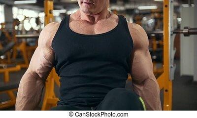 formation, dumbbells, haut, gymnase, -, biceps, musculaire, jeune, exécute, fin, haltérophilie, homme