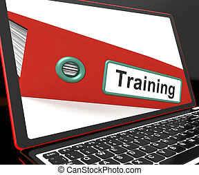 formation, entraînement, ordinateur portable, fichier, spectacles