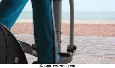 formation, femme, appareil gymnase, dos, jambes, vue