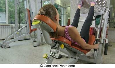 formation, femme, crise, jambe, club, jeune, machine, santé, fitness, presse