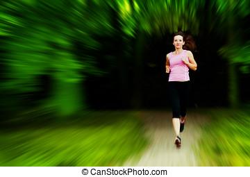 formation, femme, crise, jeune, jogging, courant
