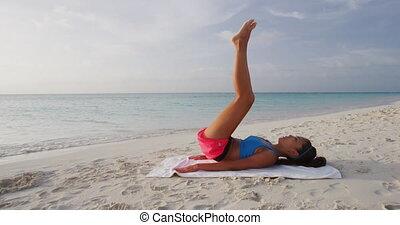 formation, femme, dehors, fonctionnement, plage, dehors, fitness