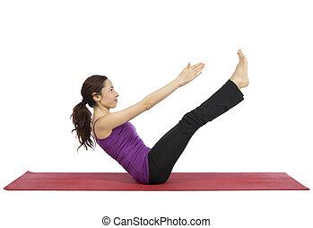 formation, femme, elle, jeune, ab, fitness, muscles