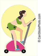 formation, femme, gymnase, jeune, vélo, exercice