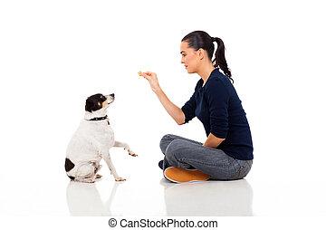 formation, femme, moderne, chien
