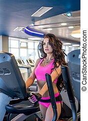 formation, femme, salle, simulateur, joli, fitness