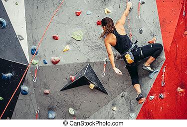 formation, femme, sportif, coloré, intérieur, jeune,...