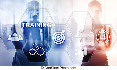 formation, financier, communication affaires, concept., webinar, e-learning., technologie