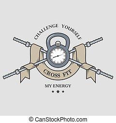 formation, fitness, time., emblem.