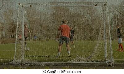 formation football, équipe, goal, pas