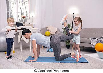 formation, gosses, elle, portion, mère, content