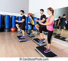 formation, groupe, danse, gymnase, étape, fitness, cardio