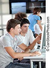 formation, groupe, jeune, professionnels