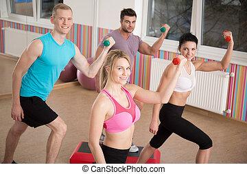 formation, haltère, athlètes