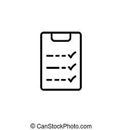 formation, liste contrôle, mince, ligne blanche, icône