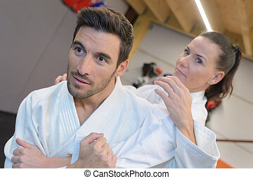 formation, mâle, judokas, jeune, femme